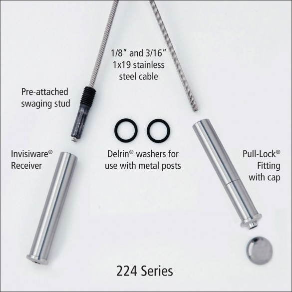 Ultra-Tec 224 Series Cable Railing Kit For Metal Posts