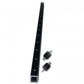 "Ultra-TEC 42"" Black Aluminium Cable Brace With 13 Predrilled Holes, 2 Plugs & Screws (Level-Runs Only) - CB-42-BL-AL-13-P"